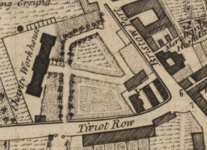Workhouse and bedlam Ainslie's map of 1780