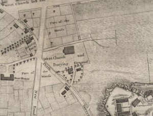 West church Burial ground; Details from Kincaid's 1784 map
